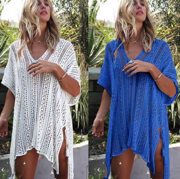 New Europe Women's Prevent Bask Tops Dress Bikini Smock Transparent Beach Crochet Dress Lady Hollow Out Knitted Dresses C41712