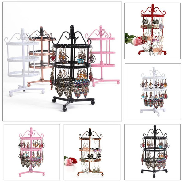 New Multifunctional 72 Holes Earrings Ear Stud Necklace Jewelry Display Stand Metal Rotating High Quality Display Stand Holder