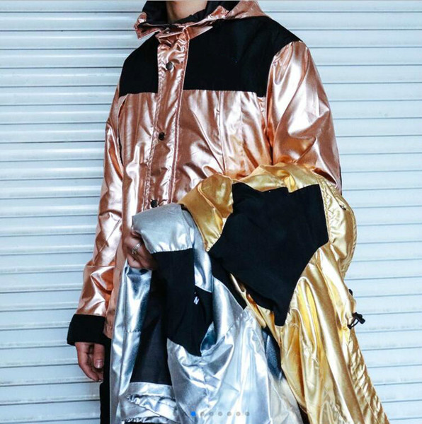 18SS liquid metal jacket gold silver rose gold metal men and women couple outdoor jacket mens designer hoodies