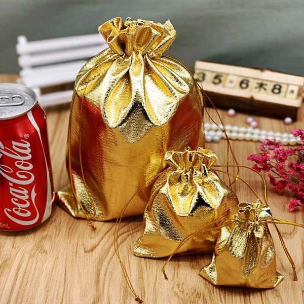Banhado a ouro Jóias Gaze Sacos de Presente de Natal Bolsas 4 Tamanhos 7 * 9 cm 10 * 12 cm 13 * 18 cm 17 * 23 cm FA2825