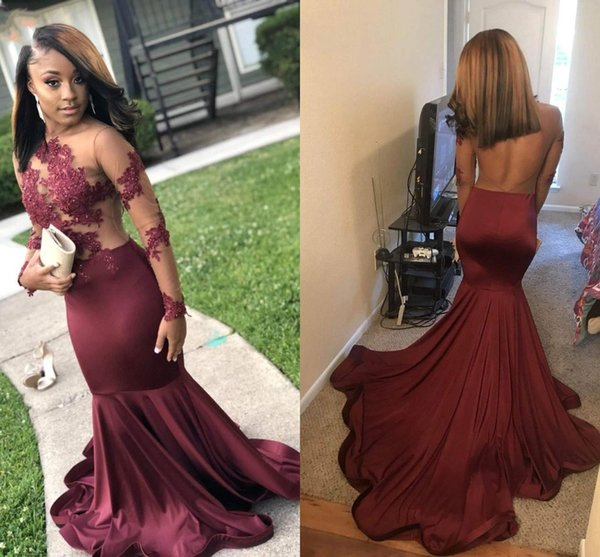2019 New Burgundy Long Sleeve Prom Dresses Long Sheer Illusion Top Jewel Neck Backless Long Event Party Evening Gowns BC1245