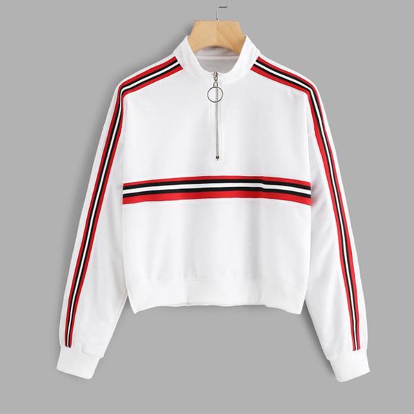 Neue Mode 6 Farben Gestreifte Frauen Hoodies Lässige Womens Langarm Sweatshirt Pullover Pullover Trägerlos harajuku Hoody Damen