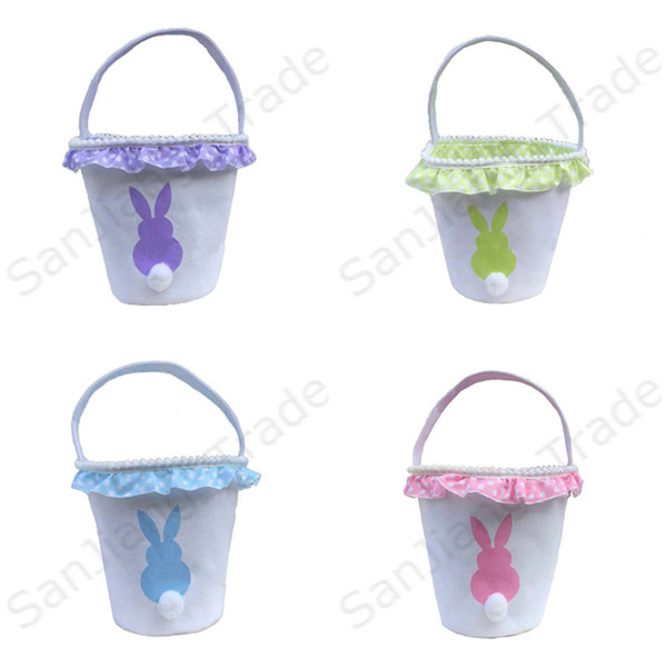Canvas Easter Baskets Easter Rabbit Basket Bunny Egg Buckets Bags With Lacy Festive Supplies Gift Handbag Rabbit Tail Basket Tote Bag