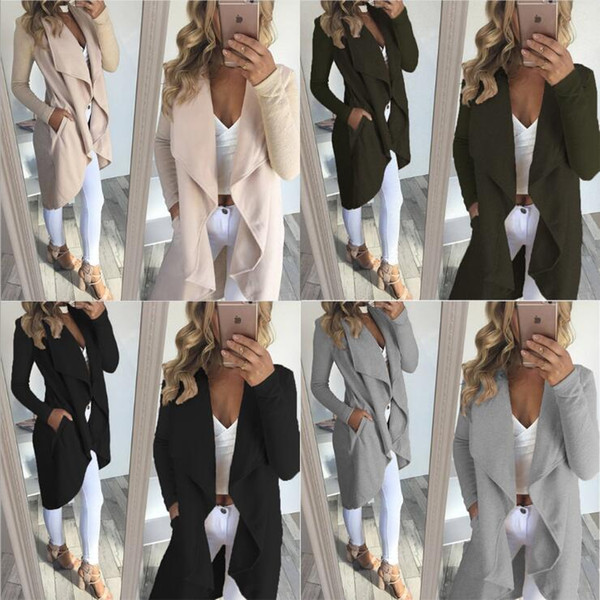 Women Irregular Coat Cardigan 4 Colors Long Sleeve Wool Solid Color Jackets Casual Long Outerwear Overcoat OOA5974