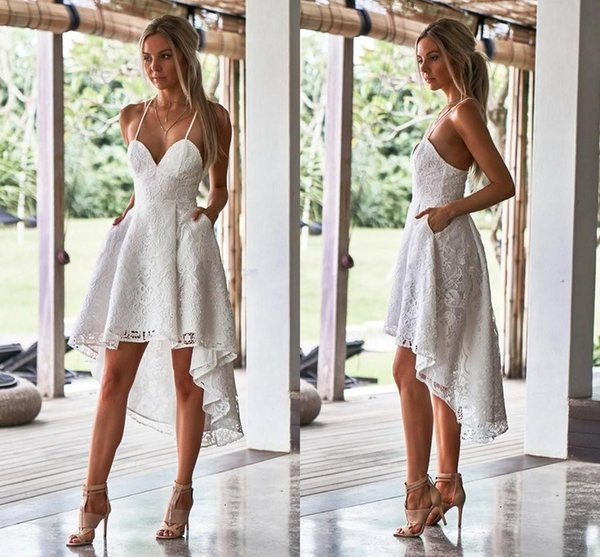 2019 high low lace short prom dresses formal cocktail party dress evening gowns Satin for Homecoming Dress With Pockets