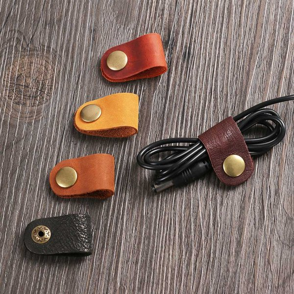 1pc Cable Winder Headset Earphone Wire Portable USB Cable Cord Leather Winder Desk Set Wire Organizer Desk Manager