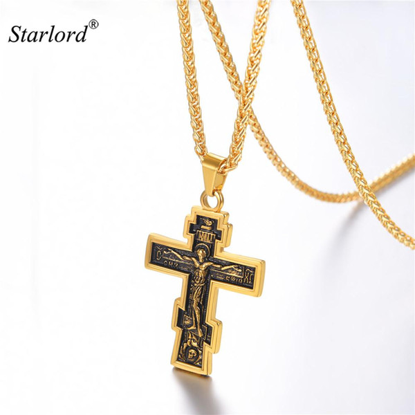 Croix Croix Orthodoxe En Acier Inoxydable / Or / Noir Croix Charme Jésus De Nazareth Roi Calvaire Bijoux Pour Russe GP3239