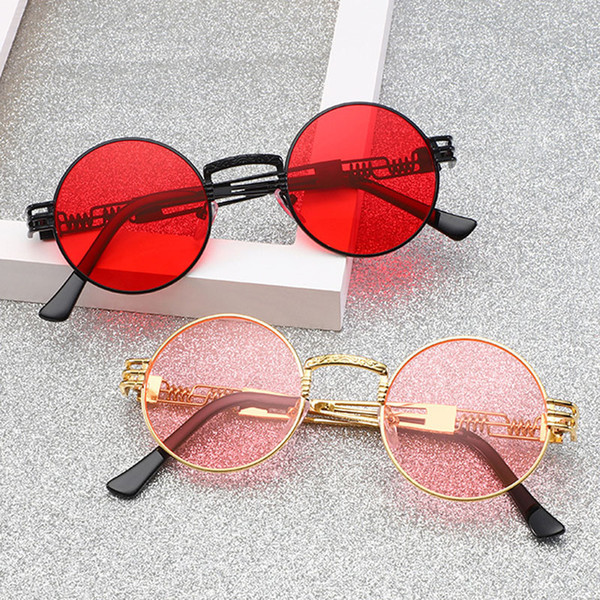 RTBOFY Gothic Steampunk Sunglasses Men Metal Round Shades Male Clear Sun Glasses For Women Hip Hop Steam Punk Sunglasses UV400
