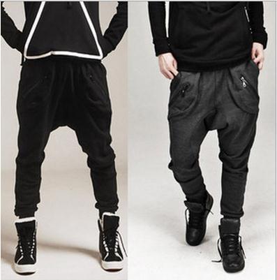 Atacado-Sarouel Baggy Afunilado Calças Hip Hop Harem Sweatpants Queda Crotch Calças Men Sport Track Calças calças de jogging homens
