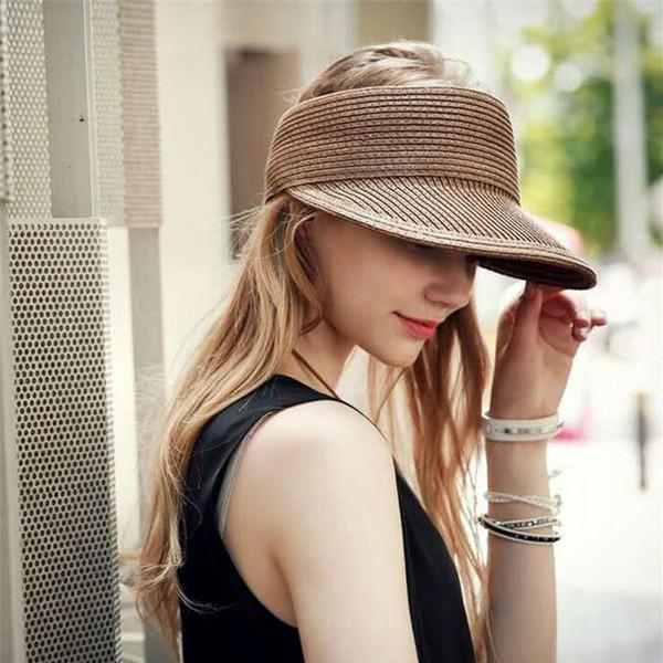 oZyc Hats Women Wide Large Brim Floppy Summer Beach Sun Hat Straw Hat Button Cap Summer Hats For Women Anti-uv Visor Cap Female D19011106