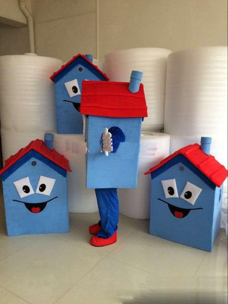 2018 Factory direct sale Blue House Mascot Costume 100% High Quality House Costume Party Carnival Fancy Dress Costume