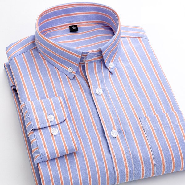 Men Shirt 2019 Striped Oxford Langarm Shirts Männer Kleid Camisa Masculina Herbst Casual Male Hemd Qualitäts-Baumwolle