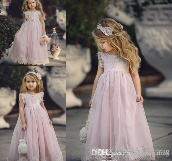 Blush Pink Sparkly Beaded Little Princess Girls Pageant Dresses 2019 Modest Long Sleeve Pageant Dresses for Teens with Bow