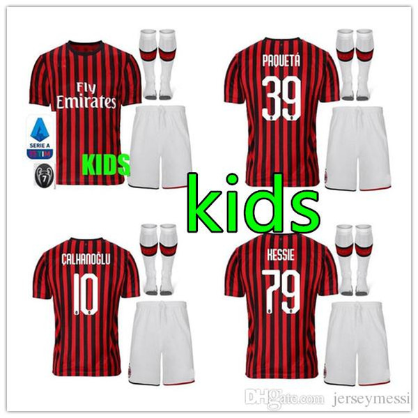 sweat-shirt 2019 2020 Paqueta Suso Calhanoglu Kessie maglie da enfants calcio BOYS ENSEMBLES chemise de football 19 20 kits pour enfants ac Milan le football