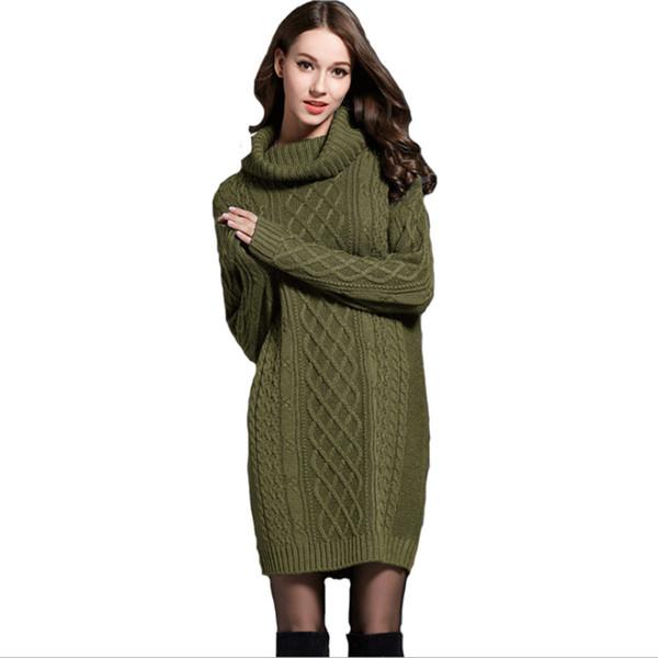 2018 Winter Crochet Sweater Dress Plus Size Spring Women Long Sleeves Turtleneck Black Knitted Dress Lady Dresses For Winter T190830