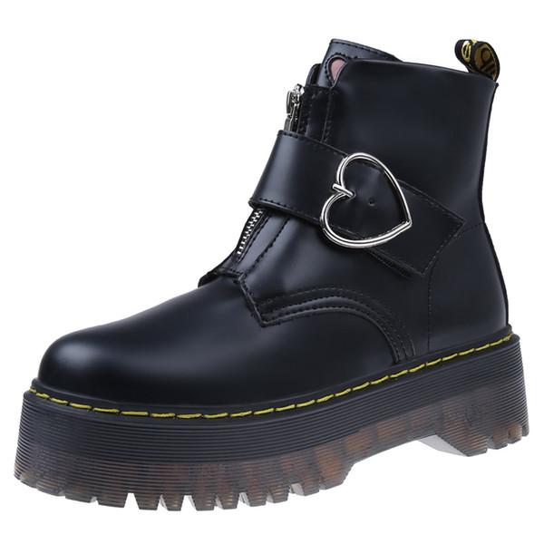 Amour Botas femme Bottes moto cheville neige Wedges Femme Zipper Boucle Plate-formes d'automne Oxford cuir souple Chaussures Botas Mujer