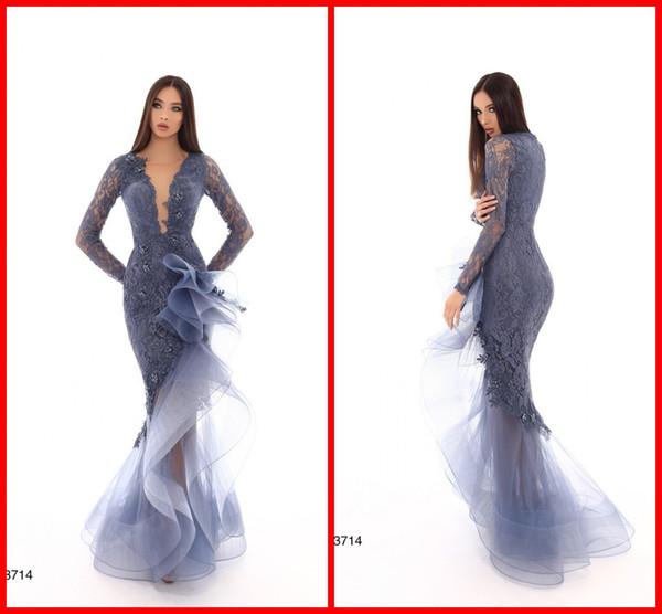 Dusty Blue vente chaude 2019 robes de soirée de bal asymétrique profond col en V volants Tulle dentelle manches longues pas cher robe de soirée formelle TK