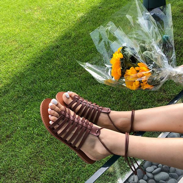 2019 Retro Mulheres Roman Sandálias Gladiador Sandálias de Salto Plano Sapatos Flip Flops Senhoras Verão Praia Slides Lace Up Sapatos