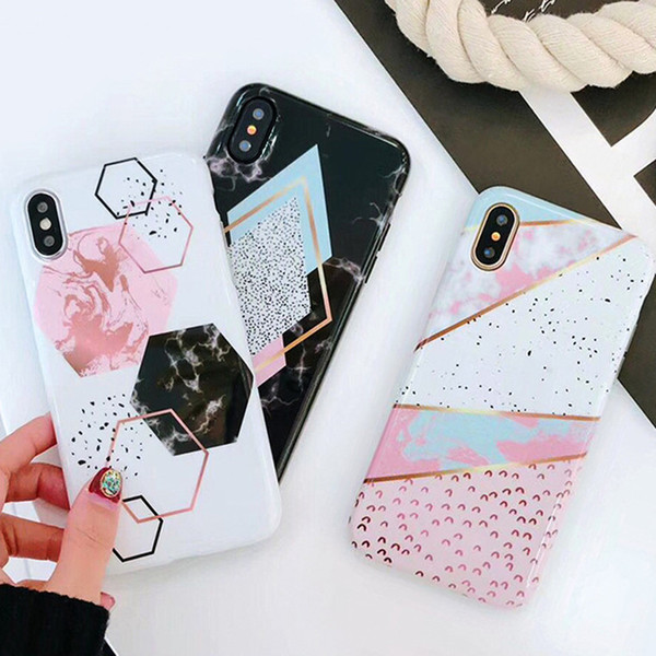 Marble phone ca e for iphone xr x x max 6 7 8 plu ca e candy color funny geometry plice pattern retro cover