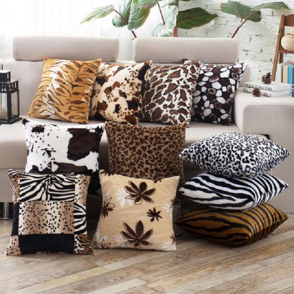 Decoración para el hogar Patrón de piel animal Tigre Gato Vaca Leopardo Forro polar Suave Sofá barato Funda de cojín de piel sintética para coche Funda de almohada