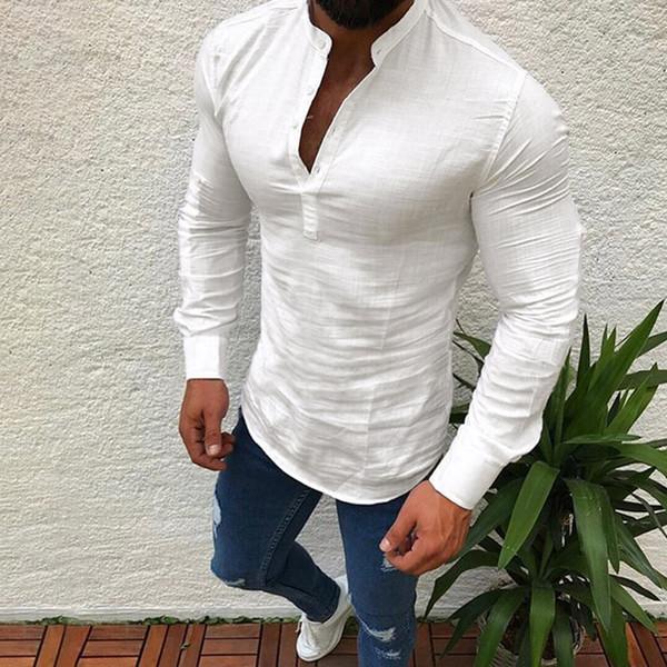 top popular Men's Shirts Cotton Linen Shirt Men Long Sleeve V Neck Button Up Shirts Male Casual Business Fit Blouse Men Shirt style 2019 2021