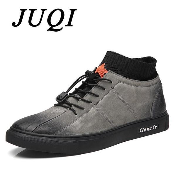 Juqi pop marca de alta qualidade dos homens de couro genuíno sapatos casuais moda respirável sneakers moda flats