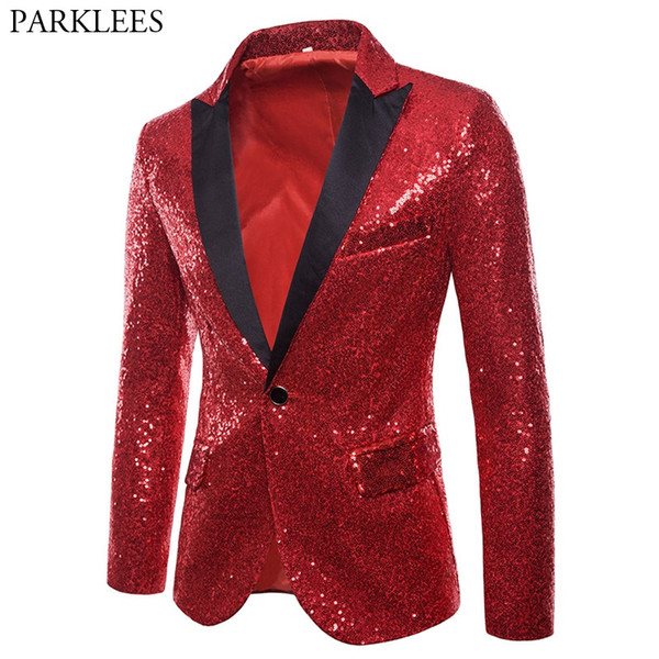 Shiny Red Sequin Blazer Jacket Men 2018 Brand New Slim Fit One Button Dress Blazers Men Prom Wedding Party Suit Jacket For #530696