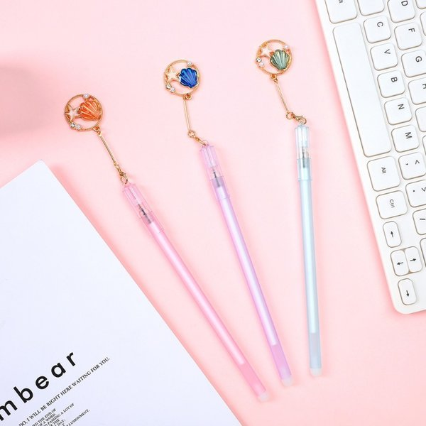 1pc gel pen 0.5mm kawaii cat fish shell pendant neutral pens for student girls gift writing office supplies stationery