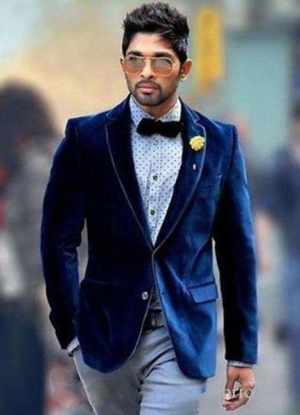 Royal Blue Men Velvet Fabric Stylish Suits Two Pieces (Blazer+Pant) Winter Formal Banquet Tuxedos Wedding Bridegroom Clothing