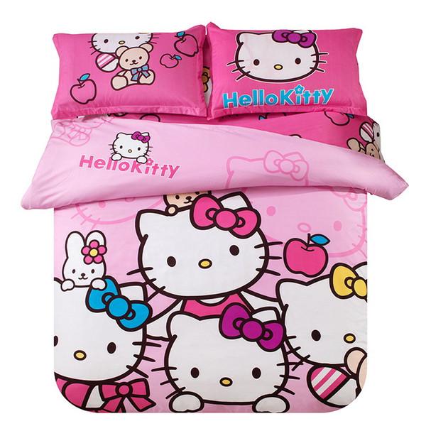 Cartoon Cat Beddingset 3/4pc Duvet Cover Sheet Modern Brife Style Cotton Children Polyester Duvet Cover Bedding Products