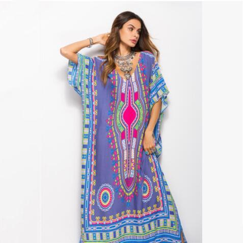 Nuevos vestidos de verano para mujer vestido largo Batwing vestido de playa más el tamaño de la flor Dolman manga vestido casual mujer ropa