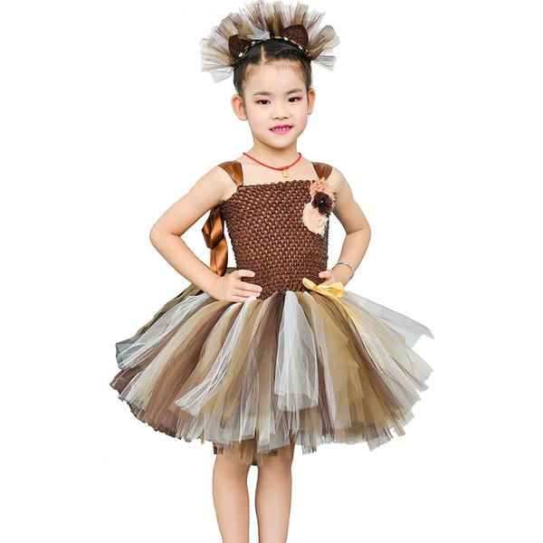 Brown Flower Girls Tutu Dress Children Cosplay Animal Lion Costume Dress Up Fancy Girl Kids Halloween Birthday Party Dress 1-14y J190505