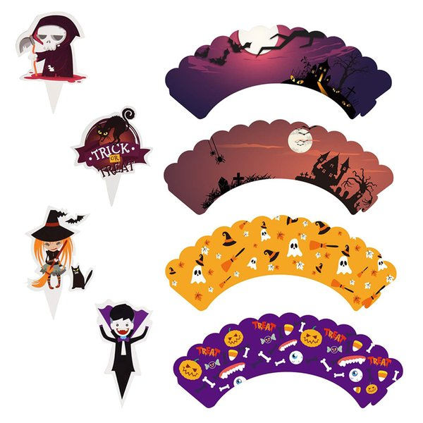 24pcs/48 pcs Halloween Theme Cake Decoration Wraps Cartoon Mustache Cupcake Wrappers Cake Toppers for Party Supplies