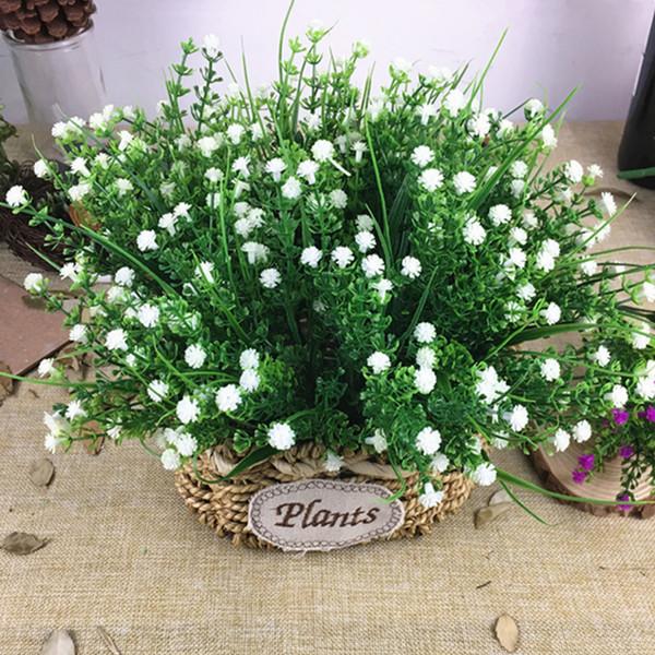 Fausse herbe en plastique Fleurs artificielles Maison décoration de jardin faux plantes Plante artificielle Gypsophila