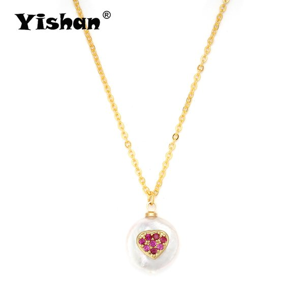 Yishan 1 Pcs Fashion Necklace Natural Irregular Shape Pearl Micro Pave Heart Copper Chain for Women Girl Gift EY6166