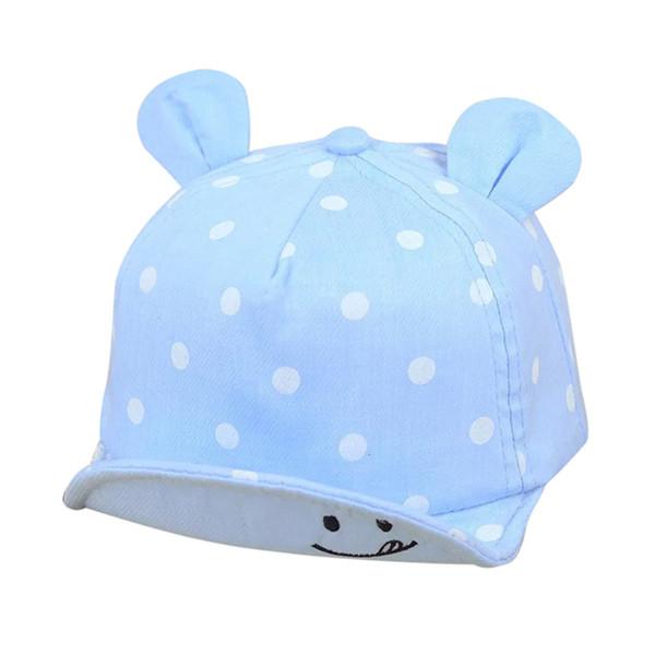 Товары для новорожденных младенцев Мальчики Девочки Симпатичные Сплошной цвет Hat Дети Улыбающиеся лица волновой точки Baseball Sunhat Симпатичные Медвежонок Ear Cap A20 1-3 года
