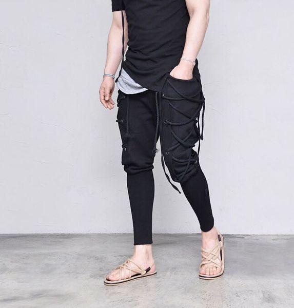 2019 Sping FW New Bandage Black Cross Pants Mens Clothes Casual Designer Jogger Hiphop Skateboard Pants