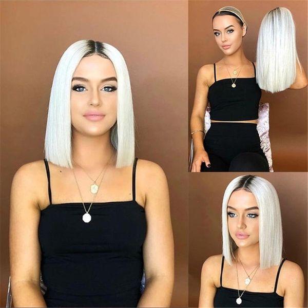 Halloween perruque Coiffures Lady perruque Bobo Cheveux courts Noir Gradual Chang Blanc Lisse Court 38 cm de long