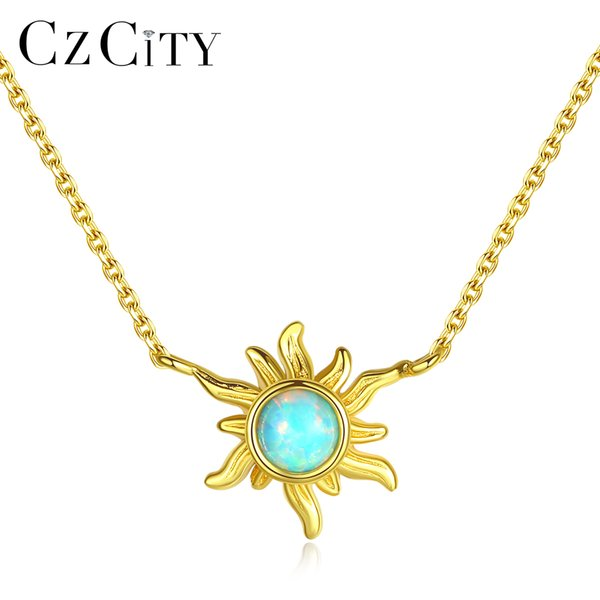 PAG&MAG Genuine 925 Sterling Silver Sun Flower Fire Opal Pendant Necklace for Women Personality 3 Colors Charm Necklace Jewelry