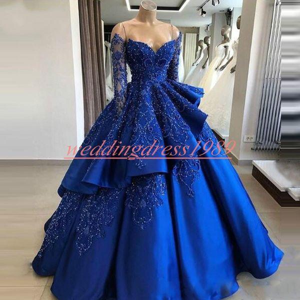 Luxe 2019 Royal Blue Ball Robes De Soirée Perles Niveaux Satin À Manches Longues Arabe Robes De Bal Robe De Soirée Formelle Pageant Robe De Soirée