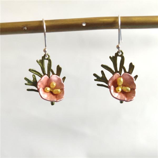 Free shipping Yellow poppy flower greenleaf 925 silver hook earrings ear hoop