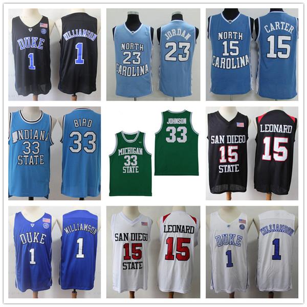 NCAA 15 Carter Kawhi Leonard 2 jersey 23 logotipos Michael Earvin Johnson, Larry Bird 33 1 Sion Williamson jerseys del baloncesto de la universidad cosido