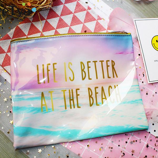 Marca de moda Saco Cosmético New Maquiagem Caso Pvc Mulheres Produtos de Higiene Pessoal Lavagem de Viagem Cosméticos Organizador Sacos De Praia