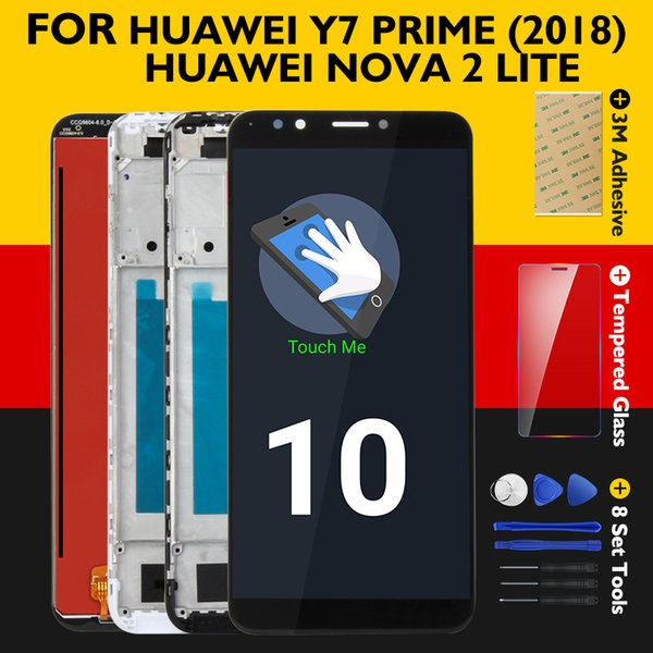 Original Screen Huawei Y7 Prime 2018 LCD Display+Frame 10 Touch Panel Nova 2 Lite LCD Digitizer Replacement Repair Spare Parts
