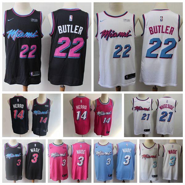 best sneakers de333 ab4f6 2019 2020 Men Heat City New Edition Swingman Basketball Jersey 22 Jimmy  Butler 14 Tyler Herro 21 Whiteside 3 Wade Jersey Embroidery Ultimate Logo  From ...