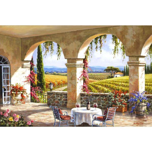Compre Pintado A Mano Hermosas Pinturas Al óleo Mediterráneo Gardern Arte Vino País Terraza Obras De Arte Para La Decoración Del Hogar A 131 66 Del