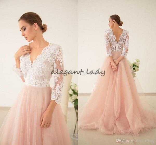 2018 Glamorous Blusher Tulle Wedding Dresses Lace V Neck Long Sleeves Bridal Gown Vestidos De Novia Formal Gown For Weddings Open Back