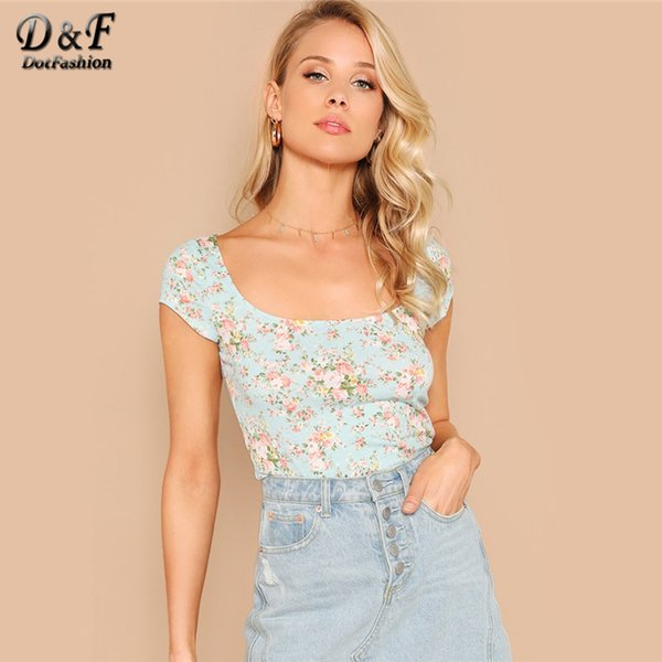 Dotfashion Turquoise Allover Floral Form Fitted Tee Women 2019 Summer Casual Cap Sleeve Clothes Ladies Tops Slim Fit T-Shirt