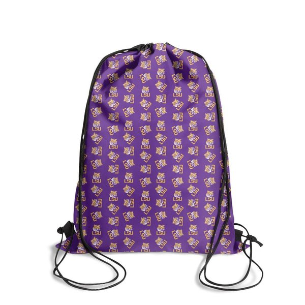 LSU Tigers football basketball PurpleFashion cinch belt backpack, design retro personalized durable and convenient string package, suita