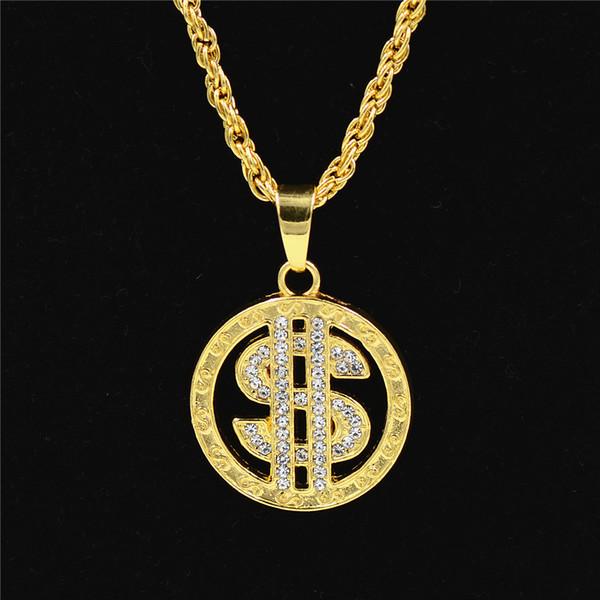 Cross-border sílaba eletrônica hip-hop colar dólar símbolo banhado a ouro com diamantes embutidos pingente de ouro ultra-longo fabricante de vendas diretas